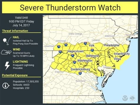 Severe Thunderstorm Watch Issued For Washington, DC ...