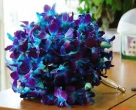 blue wedding flowers bouquet bridal blue orchid bouquets
