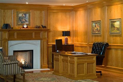 contemporary cherry wood wall paneling system dens
