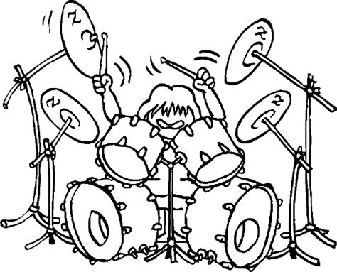 Coloring Pages Rock N Roll Drummer Page Drums