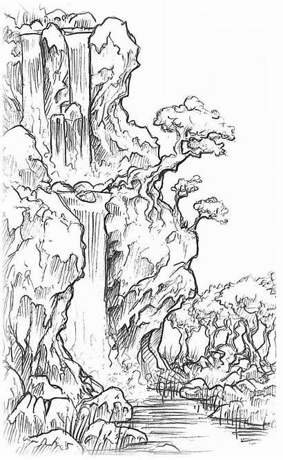 Waterfall Drawing Pencil Landscape Drawings Sketch Cool