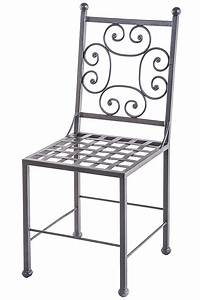 Wrought iron chair with decorated sqare back sedia in for Sedia in ferro battuto
