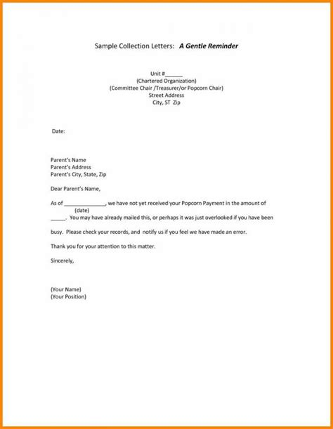 friendly payment reminder letter samples template business