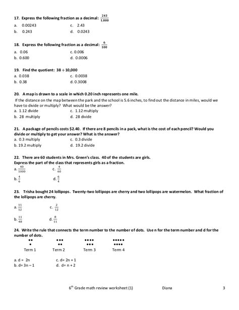 grade 6 math review worksheets popflyboys