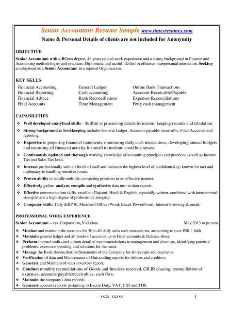 professional senior accountant resume