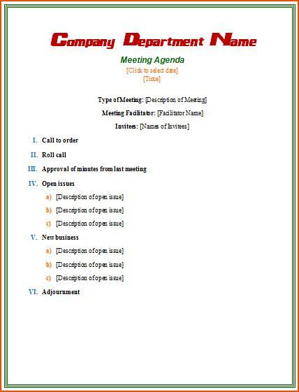 formal meeting bookletemplateorg