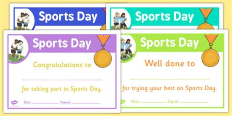 sports day certificate templates free sports day certificate template sports day effort