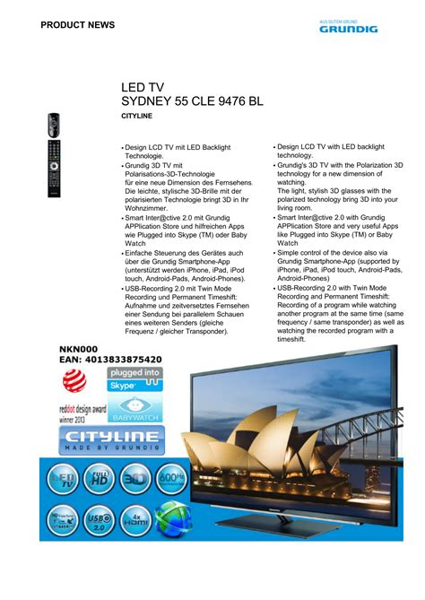 LED TV SYDNEY 55 CLE 9476 BL Manualzz