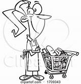 Grocer Cartoon Female Toonaday Clipart sketch template