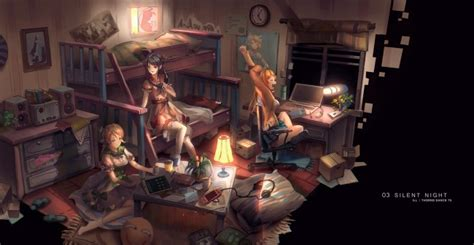 wallpaper anime girls friends messy room silent night