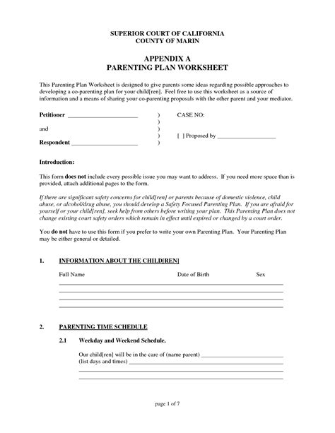 parenting plan templates free the care parenting