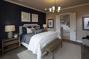 A, Navy, Blue, Accent, Wall, In, The, Bedroom, Creates, A, Look, Of, Elegance, And, Depth, This, Dark, Blue, Wa