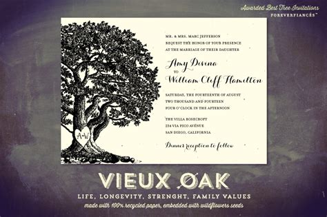 oak tree wedding invitations  handmade paper vieux oak