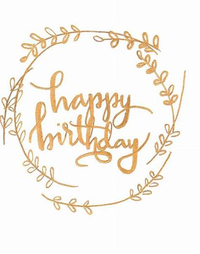 Calligraphy Anniversary Clipart Birthday Happy Gold Lettering