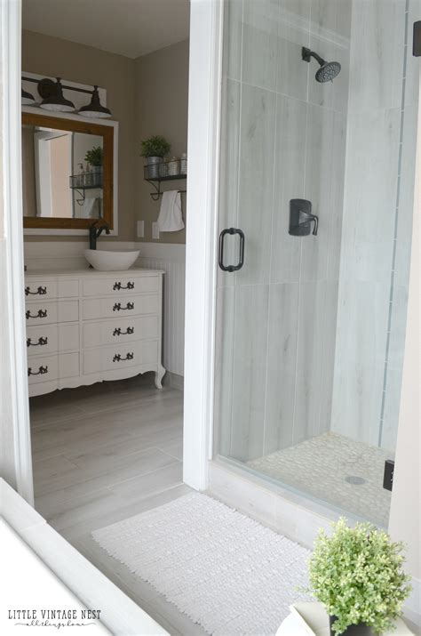 Vanity With Sink And Faucet by Farmhouse Master Bathroom Reveal Little Vintage Nest