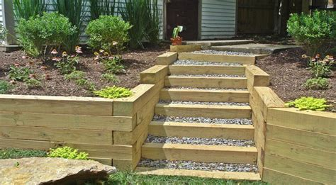 wooden retaining walls google search landscape timbers