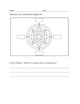 compass rose worksheet   yunes  middle teachers