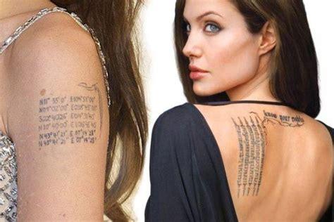 angelina jolies  tattoos  meanings body art guru