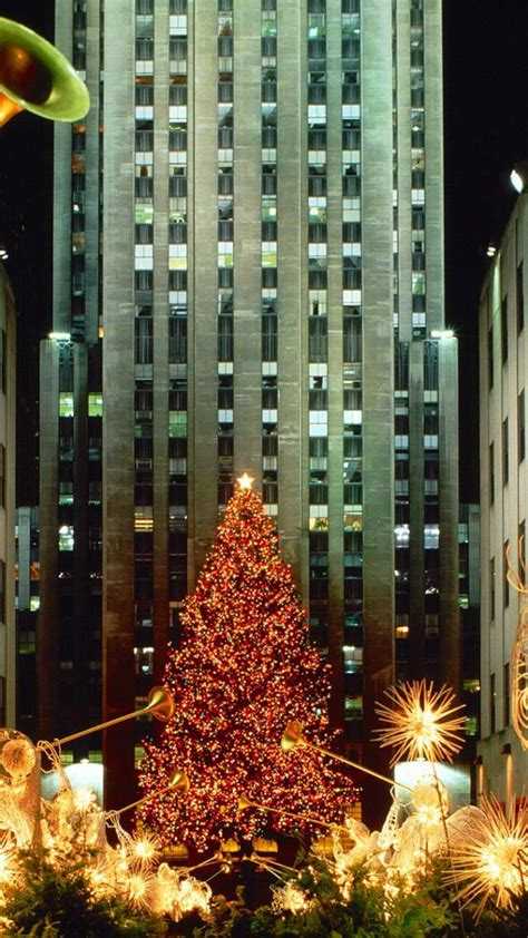 christmas   york tree lights android wallpaper
