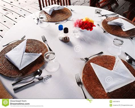 al fresco dining table setting stock photo image