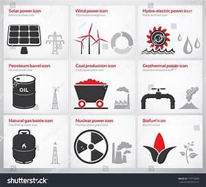 Icons Renewable Nonrenewable Energy Sources Solar Stock ...