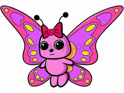 Butterfly Girly Cartoon Pink Clipart Bow Vector