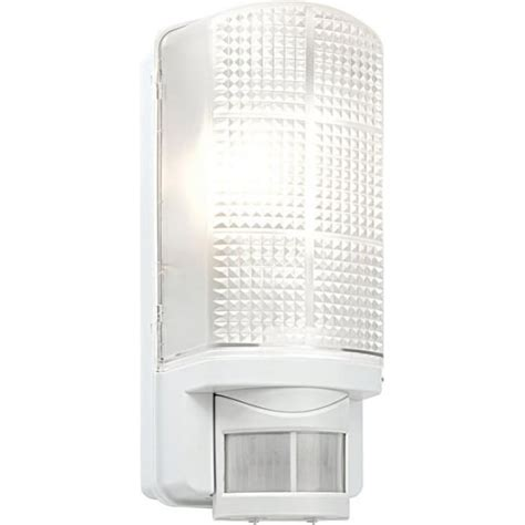 endon motion pir exterior white wall light with frosted