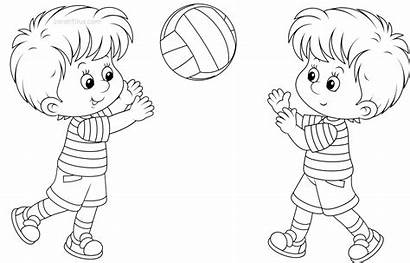 Coloring Pages Playing Boy Colouring Children Outside