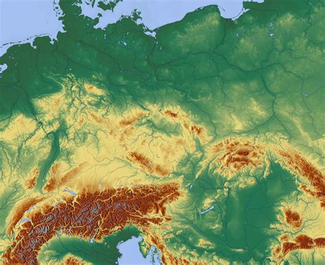 Carte Relief Europe Centrale by File Central Europe Relief Map With Waterbodies Png