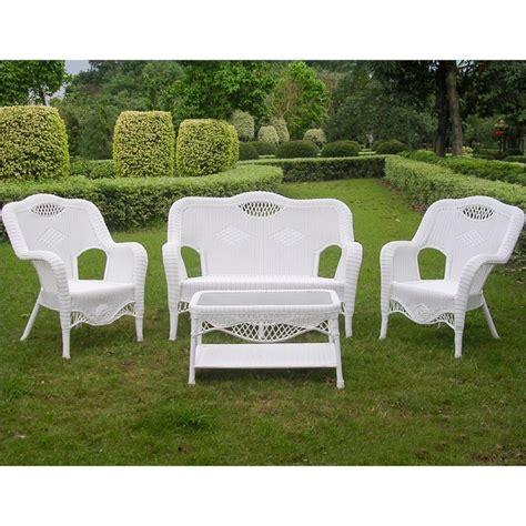 4 wicker patio sofa set in white 3194 wt