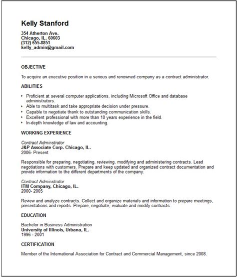 Resume Contract Work contract administrator resume exle free templates collection
