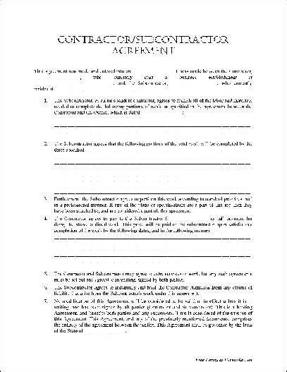 basic contractorsubcontractor agreement