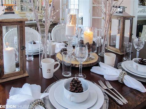Winter Decorations Add Flavor To A White Tablescape