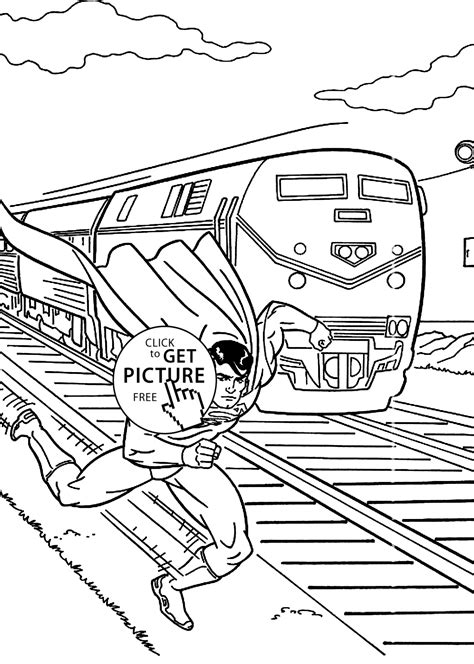 Superman And Train Coloring Pages For Kids Printable Free