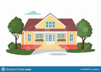 Cartoon Residential Exterior Flat Vector Modern Facade