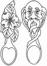 Coloring Spoon Spoons Wooden Coloringway sketch template