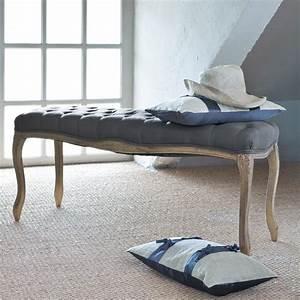 Bout De Lit Capitonné : bout de lit capitonn en bois et lin taupe l 114 cm ~ Melissatoandfro.com Idées de Décoration