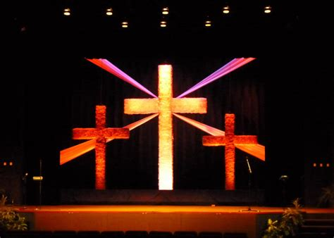soft crosses church stage design ideas