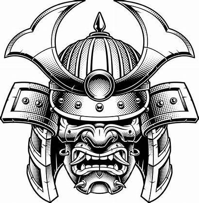 Samurai Mask Japanese Helmet Cartoon Kabuki Sticker