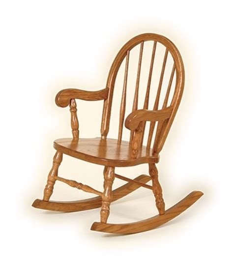 classic childrens oak rocker bow back child wooden rocking