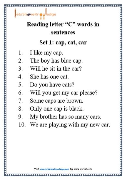 Letter Sentences by Kindergarten Reading Practice For Letter Quot C Quot Words In
