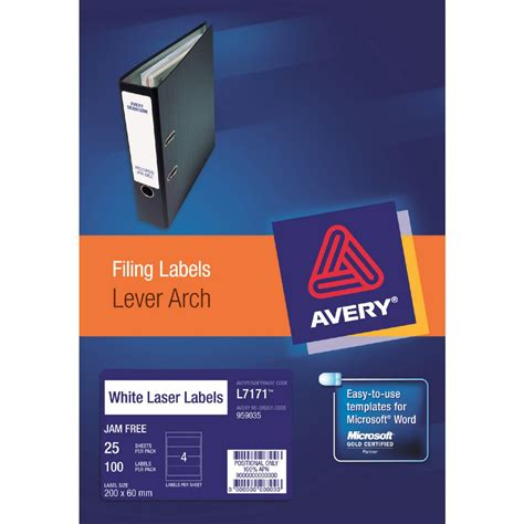 Lever Arch Filing Labels 4 Per Page Avery Templates Avery Laser Lever Arch Labels White 25 Sheets 4 Per Page
