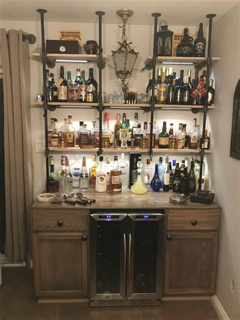 Bar Shelves by Industrial Pipe Bar With Wine Fridge West Knobs
