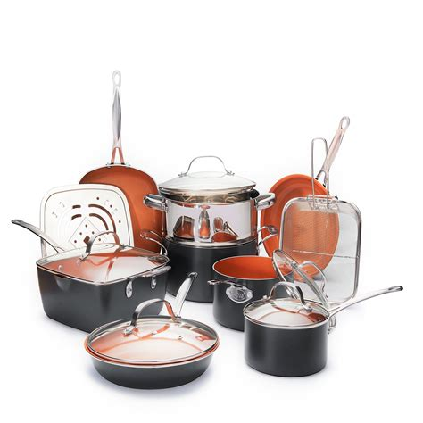 gotham steel ultimate  piece    copper kitchen set   stick ti cerama coating