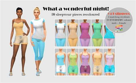 the sims 4 song4penelope sleepwear slippers cas clothing recolor shoes top bottom for
