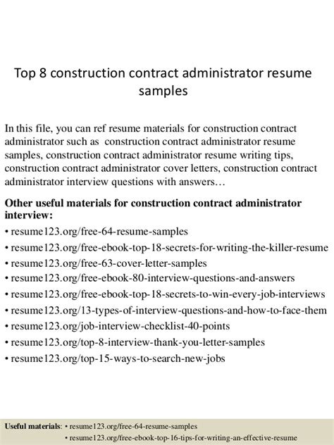 Contract Administrator Cv by Top 8 Construction Contract Administrator Resume Sles