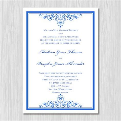 royal blue wedding invitation template editable