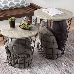 Nesting, End, Tables, With, Storage-, Set, Of, 2, Round, Metal, Baskets, By, Lavish, Home, Gray