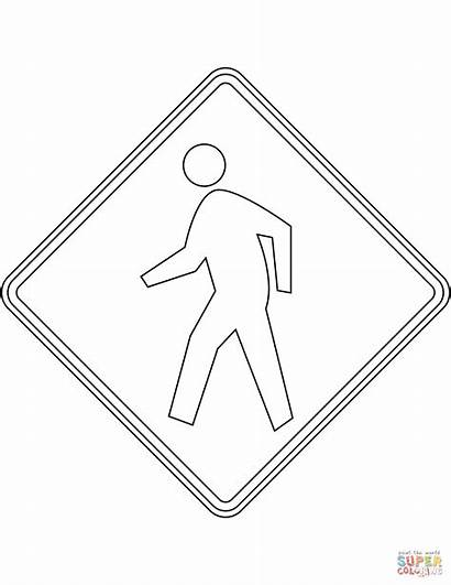 Coloring Crossing Sign Pedestrian Pages Usa Printable