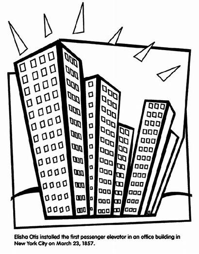 Coloring Elevator Pages Crayola Office Buildings Drawing